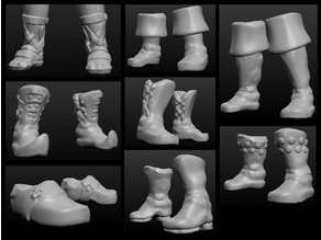 Sculptris OBJ Bits: Fantasy Shoes and Boots