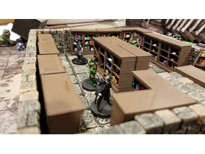 RPG / Dungeon / Terrain - Library bookshelf / bookshelves - straight / corner - 28mm
