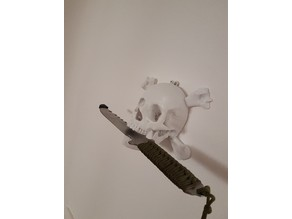 Human Skull to hang on wall, Pirate style