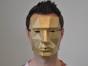 Low polygon printable mask with holes for ribbon and a drinking straw