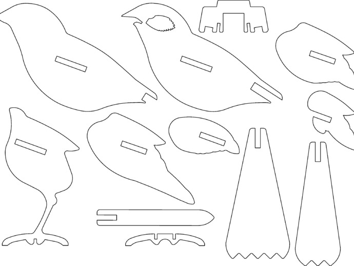 Bird ready for laser cutting or 3d printing by hexleyosx for Laser engraver templates