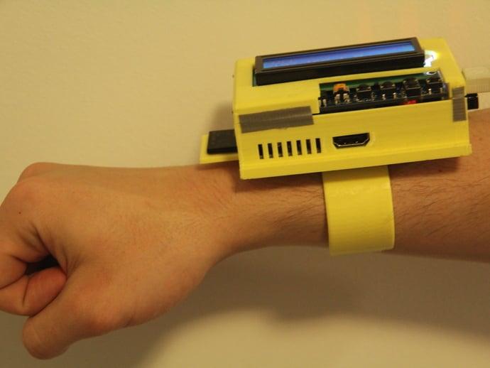 Raspberry Pi + Adafruit LCD Keypad Pi-Plate Wrist Mount by