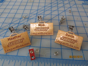 Name Badge.  Easy to make, inexpensive, laser engraved and cut wood badge.