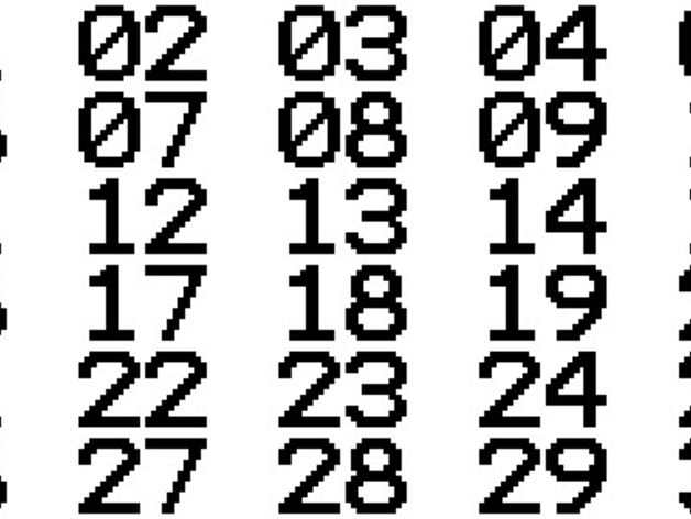 terminal font numbers 01 30 by dutchmogul thingiverse