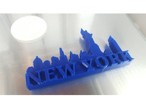 New York City 3D Skyline and Block Letters Magnet or Paperweight