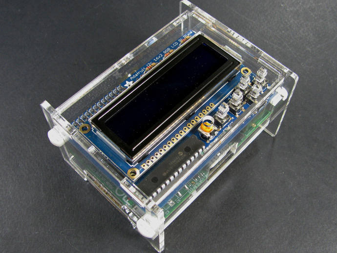 Raspberry pi with adafruit lcd plate enclosure by