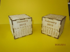 2015 Cube Calendar.  Laser engraved and cut calendar on a cube.  Wood.