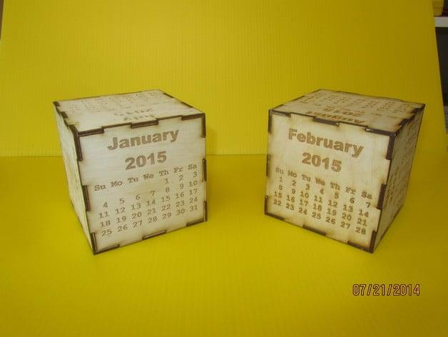2015 cube calendar  laser engraved and cut calendar on a
