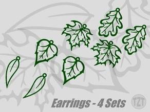 Spring Leaf Earrings - 4 Sets, Jewelry, Pendant, Wearable