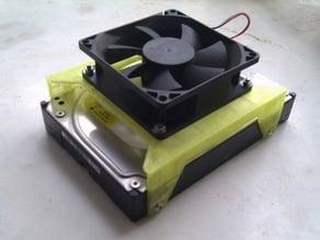 External hard disk cooling fan support