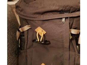 Bike helmet holder for backpack