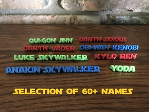 Star Wars Character Names for Displays
