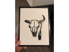 Bull Skull 2D Art w/Frame