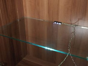 LED Holder for Showcases with Glass shelves