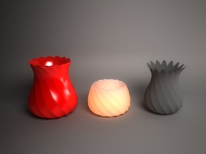Twisted vases and tealight holder