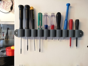 Wall mounted holder for 10 precision screw drivers