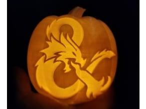 Halloween Pumpkin Tealight D&D Dragon