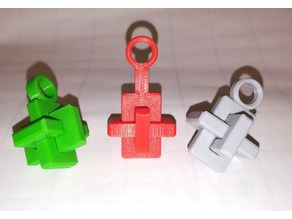 Key chain Knot Cross Puzzle, OCC, Three Pieces, Kong Ming Lock