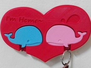 couple keychain holder - whale
