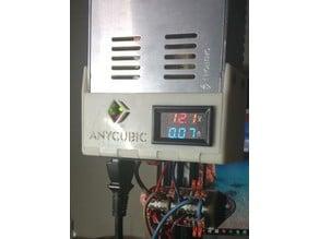 Soporte enchufe y medidor voltaje amperaje fuente 30A. Support stand and meter voltage / amperage power supply 30A
