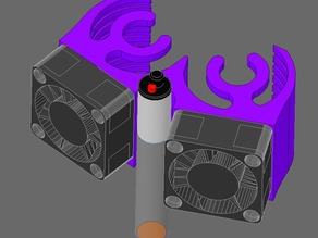 Space-efficient  Probe-Ready 25mm Dual Fan Shroud (for E3D-V6 CLONE - differs slightly in dimmensions from original)