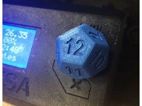 Prusa i3 - Selector Knob - D12 Dice