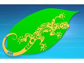 Gecko auf Blatt, Gecko on leaf