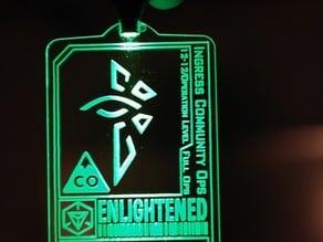 Ingress laser-cut faction badges