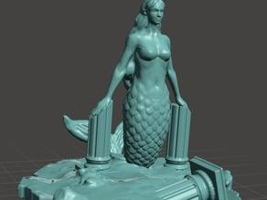 Mermaid among ruins Cake Topper