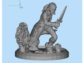 Female assasin fixed for print and on a base