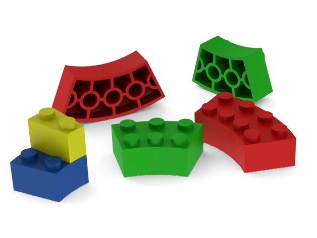 Curved Lego blocks - no supports needed by Studio_Zwaard - Thingiverse