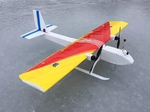Motor mount & skis for foamboard RC plane: Dual Prop Sport