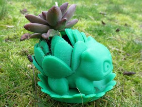 Blooming Bulbasaur Planter With Leaf Drainage Tray