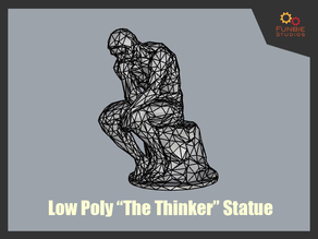 "Low Poly ""The Thinker"" Statue by Rodin"