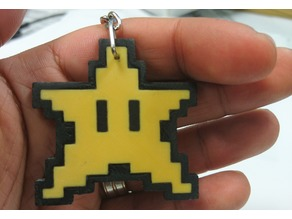 8 bit Star Keyring - double sided