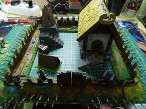 28 mm warhammer scale - modular - viking / saxon palisad, wooden fortress / walls
