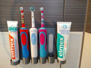 Family wall mount holder electric toothbrush and toothpaste