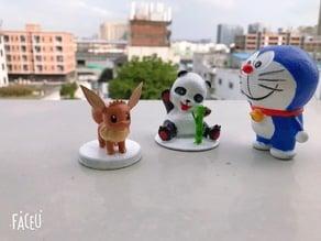 Panda and bamboo Doraemon and Eevee