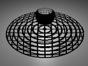 Stereographic projection flat grid + concentric circles