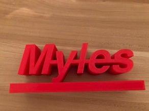 Myles Name Plate