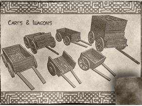 Carts & Wagons for Dungeons & Dragons, Warhammer tabletop fantasy games