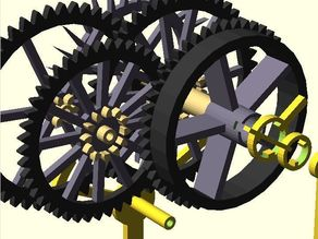 Clock Script for Reduced Friction (4 gears, 2 shafts)