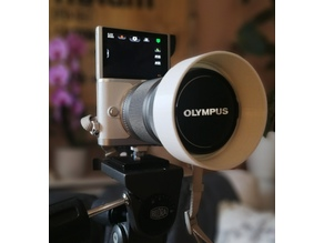 Hot shoe / flash shoe mount for cameras with tilt-down-screens
