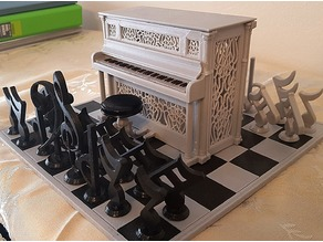Musical chess with Piano box, stool and board