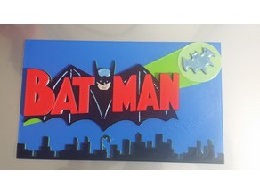 Old Batman Logo with Bat Signal and City