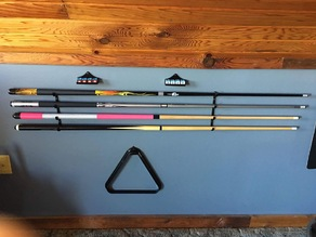 Cue Stick Rack, Chalk Holder, and Triangle Hook - Billiard/Pool Room Accessories