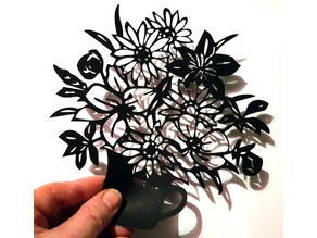 Lasercut Vase of Flowers , Blumenvase