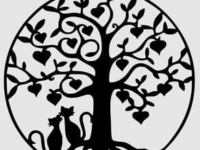 Happy Cats under a tree pendant