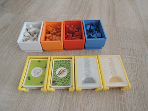 Magnetic stackable catan card and figures tray/box