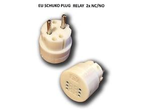 EU Schuko/Fr 230V Mains Plug Relay 2x NC/NO